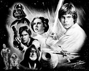 Faces Drawings - May the force be with you by Andrew Read