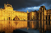 Glass Reflecting Metal Prints - Musee du Louvre Metal Print by Brian Jannsen