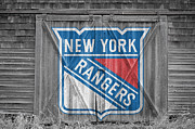 Puck Prints - New York Rangers Print by Joe Hamilton