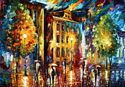 Building Painting Originals - Night City  by Leonid Afremov