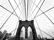 Grey Photo Framed Prints - NYC Brooklyn Bridge Framed Print by Nina Papiorek
