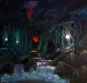 Fantasy Tree Art Paintings - Occurance At Rock Creek by Steven Holder