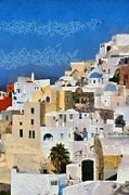 Town Paintings - Oia town by George Atsametakis