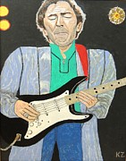 Eric Clapton Painting Metal Prints - Old slowhand.Eric Clapton. Metal Print by Ken Zabel