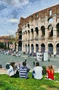Historical Paintings - Outside Colosseum in Rome by George Atsametakis