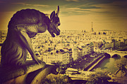 Retro Art - Paris panorama France  by Michal Bednarek
