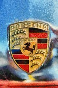Car Mascot Painting Framed Prints - Porsche badge Framed Print by George Atsametakis