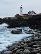Gushing Water Framed Prints - Portland Head Lighthouse Framed Print by Bernard Chen