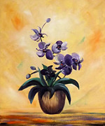 Gina Gray Paintings - Purple Orchids by Gina De Gorna
