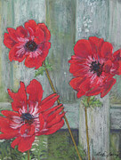 Featured Pastels Originals - Red Poppies by Vicki Barry