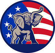 Election Framed Prints - Republican Elephant Mascot USA Flag Framed Print by Aloysius Patrimonio