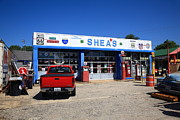 Gravel Road Posters - Route 66 - Sheas Gas Station Poster by Frank Romeo
