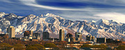 Mts Framed Prints - Salt Lake City Skyline Framed Print by Utah Images