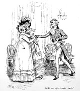 With Drawings Prints - Scene from Pride and Prejudice by Jane Austen Print by Hugh Thomson