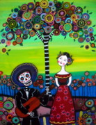 Day Of The Dead Skeleton Posters - Serenata Poster by Pristine Cartera Turkus