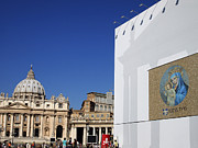 Cathedrals Prints - St Peters Square. Vatican City. Rome. Lazio. Italy. Europe  Print by Bernard Jaubert