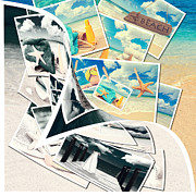 Beach Towel Prints - Summer Postcards Print by Christopher and Amanda Elwell