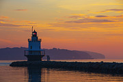 Maine Shore Prints - Sunrise at Spring Point Lighthouse Print by Diane Diederich