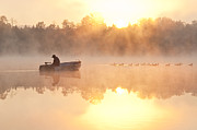 Landscape Mountain Trees Fisherman Art - Sunrise in fog Lake Cassidy with fisherman in small fishing boat by Jim Corwin
