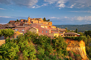 Red Buildings Prints - Sunrise over Roussillon Print by Brian Jannsen