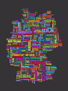 Text Art Digital Art - Text Map of Germany Map by Michael Tompsett
