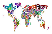 Urban Watercolor Prints - Text Map of the World Print by Michael Tompsett