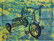 Lino Framed Prints - Tricycle Framed Print by William Cauthern
