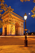 Champs Elysees Framed Prints - Twilight at Arc de Triomphe Framed Print by Brian Jannsen