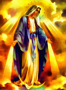 Joseph Frank Baraba Painting Prints - Virgin Mary Print by Joseph Frank Baraba