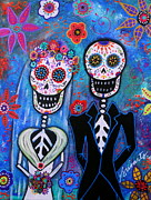 Pareja Posters - Wedding Dia De Los Muertos Poster by Pristine Cartera Turkus