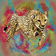 Wild Mixed Media Framed Prints - Wild Animal Stylised Pop Art Drawing Potrait Poser Framed Print by Kim Wang