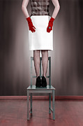 Red Skirt Posters - Woman On Chair Poster by Joana Kruse