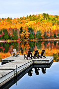 Serene Prints - Wooden dock on autumn lake Print by Elena Elisseeva