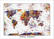 World Map Poster Painting Posters - World Map Watercolor Map of the World Poster by WaterColorMaps Chris and Mary Ann
