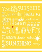 Digital Collage Framed Prints - You Are My Sunshine Framed Print by Jaime Friedman