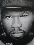 Signed Drawings Framed Prints - 50 Cent Charcoal Framed Print by Lance  Freeman