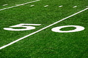 Marker Prints - 50 Yard Line on Football Field Print by Paul Velgos