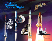 Gemini Digital Art - 50 Years of Manned Space Flight by Richard Beard