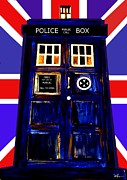Police Art Painting Prints - 50 Years Of The Tardis  Print by David Rogers