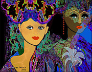 Young Lady Digital Art Prints - 509 - The Colours of a summer night B . Print by Irmgard Schoendorf Welch