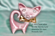 Scripture Framed Prints - 50s Ceramic Pink Cat Pro. 16v9 Framed Print by Linda Phelps