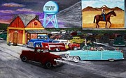 Movie Art Paintings - 50s Drive In by Larry E  Lamb