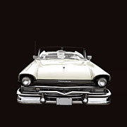 Ford Automobile Posters - 50s Ford Fairlane Convertible Poster by Edward Fielding