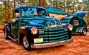 Rally Painting Posters - 51 Chevy Pickup with Teardrop Trailer Poster by Michael Pickett
