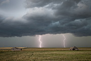Lightning Strike Posters - Prairie Storm Clouds Poster by Mark Duffy