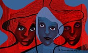Vivid Colour Digital Art - 513 -  Masked faces by Irmgard Schoendorf Welch