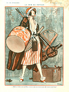 Luggage Drawings Framed Prints - 1920s France La Vie Parisienne Magazine Framed Print by The Advertising Archives