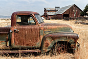 Farming Barns Digital Art Posters - 54 Chevy put out to Pasture Poster by Kathleen Bishop