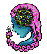 Sharpie Art Posters - 54 - Flowers in my Hair Poster by Maggie Nancarrow
