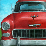 55' Vintage Red Chevy Print by Linda Apple
